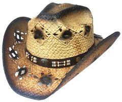 Modestone Men's Straw Cowboy Hat Brown Beige