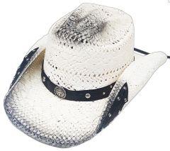 Modestone Straw Cowboy Hat Breezer Metal Concho Studs Appliques Brim White