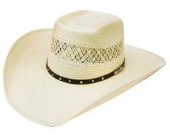 Modestone 100X Traditional Bangora Rodeo Straw Cowboy Hat 2-Tone Beige