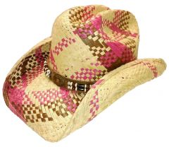 Modestone Men's Lite Weight Straw Cowboy Hat Fuchsia Brown Beige
