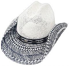 Modestone Straw Cowboy Hat Breezer Metal Concho Studs Hatband White