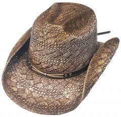 Modestone Straw Cowboy Hat Diamond Pattern Weave Material Metal Studs Hatband Beige