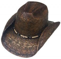 Modestone Straw Cowboy Hat Diamond Pattern Weave Material Metal Studs Hatband