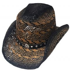 Modestone Straw Cowboy Hat Breezer Metal Concho Studs Hatband Brown