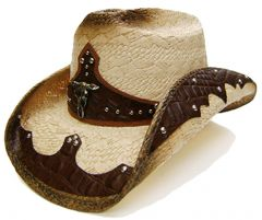 Modestone Men's Straw Cowboy Hat Bull Head Brown & Beige