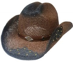 Modestone Straw Cowboy Hat Breezer Metal Concho Studs Appliques Brim Brown
