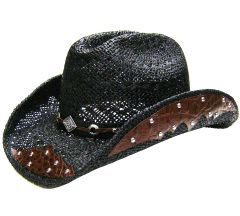 Modestone Men's Straw Cowboy Hat Breezer Metal Diamond Concho Studs Hatband Black