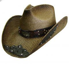 Modestone Men's Straw Cowboy Hat filigree Brown & Black