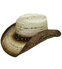 Modestone Men's Straw Cowboy Hat Metal Sheriff Star Concho Studs Hatband Tan