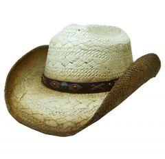 Modestone Unisex Straw Cowboy Hat Metal Concho & Studs Concho Studs Hatband Tan