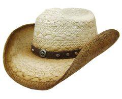 Modestone Unisex Straw Cowboy Hat Metal Metal Concho Studs Hatband Tan