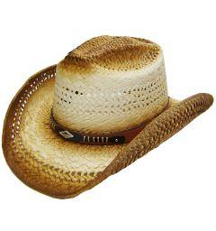 Modestone Men's Straw Cowboy Hat Breezer Metal Diamond Concho Studs Hatband Tan