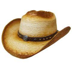 Modestone Unisex Straw Cowboy Hat Breezer Metal Diamond Concho Studs Hatband Tan