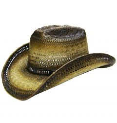 Modestone Men's Straw Cowboy Hat Breezer Metal Diamond Concho Studs Hatband Khaki