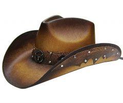 Modestone Men's Straw Cowboy Hat Metal Longhorn Bull Head Concho & Studs Hatband Brown