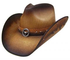 Modestone Unisex Straw Cowboy Hat Metal Longhorn Bull Head Concho & Studs Brown