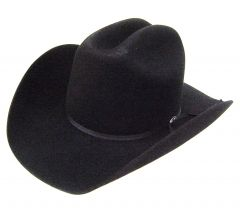 Modestone Genuine 2X Wool Felt Cowboy Hat Black