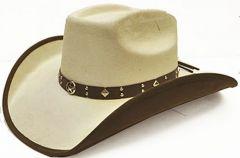 "Modestone Men's ""Felt Feel"" Cowboy Hat Texas Star Conchos Studs M Off-White"