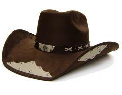 """Modestone Men's """"Felt Feel"""" Cowboy Hat Texas Star Ornament Appliques Studs Brown"""