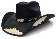 "Modestone Men's ""Felt Feel"" Cowboy Hat Texas Star Appliques Studs Black"