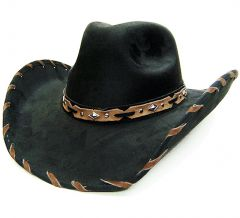 """Modestone Men's """"Felt Feel"""" Wide Brim Cowboy Hat Lacing On Brim Black"""