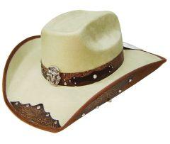 Modestone ''Felt Feel'' Cowboy Hat Leather-Like Appliques White