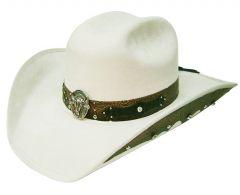 Modestone ''Felt Feel'' Cowboy Hat Leather-Like Appliques Rhinestones White