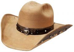 Modestone ''Felt Feel'' Cowboy Hat Leather-Like Appliques Rhinestones Beige