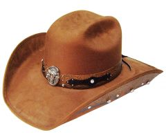 Modestone ''Felt Feel'' Cowboy Hat Leather-Like Appliques Rhinestones Brown