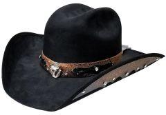 Modestone ''Felt Feel'' Cowboy Hat Leather-Like Appliques Rhinestones Black
