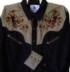 Modestone Men's Embroidered Long Sleeve Shirt Filigree Cowboy Boots S Beige