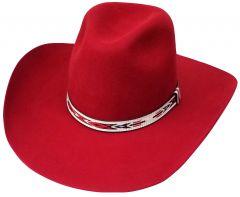 Modestone Traditional High Quality Genuine Wool Felt Cowboy Hat 2X Red
