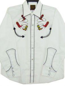 Modestone Men's Embroidered Long Sleeve Shirt Cowboy Boots Lassos Xxl White