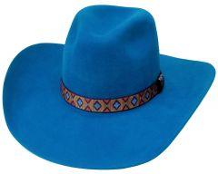 Modestone Traditional High Quality Genuine Wool Felt Cowboy Hat 2X Blue