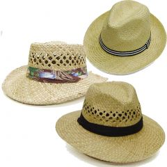 Modestone Value Pack 24 X Unisex Inexpensive Light Cool Straw Hats Beige