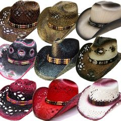 Modestone 24 Pcs Top Selling Combo Pack Straw Cowboy Hats Assorted Sizes/Colors