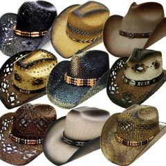 Modestone 24 Pcs Top Selling Pack Men's Straw Cowboy Hats Asst. Sizes/Colors