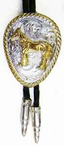 Modestone Men's Bolo With Gold Rope Edge & Standing Horse O/S Silver