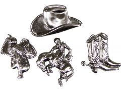 Modestone Set 4x Metal Western Button Covers Cowboy Hat Boots Horse Saddle