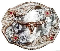 Modestone Nickel Silver Belt Buckle 4x Red Stones Longhorn Bull 4'' x 3 1/2''