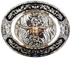 Modestone Nickel Silver Trophy Belt Buckle Longhorn Bull 4'' x 3 1/4''