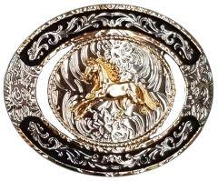 Modestone Nickel Silver Trophy Belt Buckle Galloping Horse 4'' x 3 1/4''