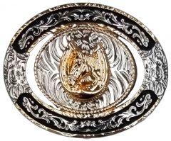 Modestone Nickel Silver Trophy Belt Buckle Horse Horseshoe 4'' x 3 1/4''