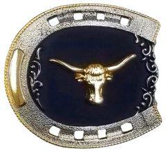 Modestone Metal Alloy Belt Buckle Horseshoe Bull Rider 3 1/4'' x 3''