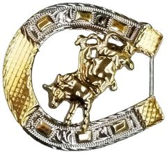 Modestone Nickel Silver Horseshoe Belt Buckle Bull Rider 3'' x 3''