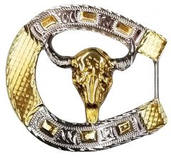 Modestone Nickel Silver Horseshoe Belt Buckle Longhorn Bull 3'' x 3''