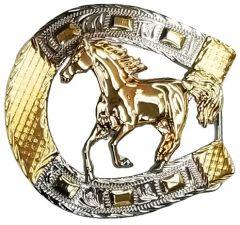 Modestone Nickel Silver Horseshoe Belt Buckle Galloping Horse 3'' x 3''