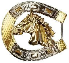 Modestone Nickel Silver Horseshoe Belt Buckle Horse Head 3'' x 3''
