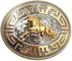 Modestone Nickel Silver Charro Belt Buckle Galloping Horse 4 1/4'' X 3 1/4''