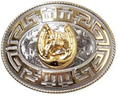 Modestone Nickel Silver Charro Belt Buckle Horse Horseshoe 4 1/4'' X 3 1/4''